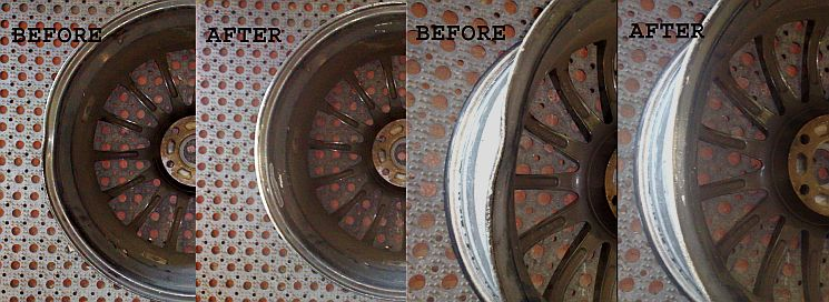 Wheelnice Southampton, picture of alloy wheel damage before and repair after.